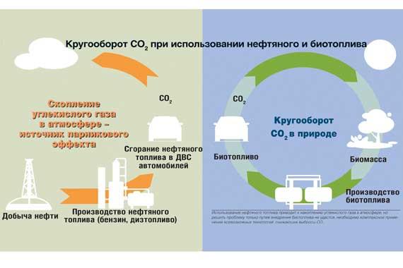 Кругооборот СО2 при использовании нефтяного и биотоплива