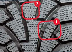 У новых моделей шин Nokian имеется не только перемычка критического износа (1), но и индикатор остаточной глубины протектора в цифровом виде – цифры (2) на центральном ребре.