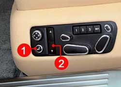 Даже высота ремней (1) безопасности регулируется при помощи электроприводов. Массажеры (2) есть у всех.