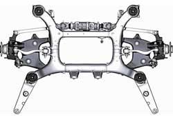 На скоростях до 60 км/ч задние колеса поворачиваются в противоположную повороту передних колес сторону (одновременно увеличивается угол поворота передних колес), а на высоких – в ту же сторону.