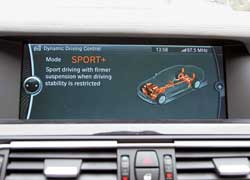 На крупном экране видно, какие узлы автомобиля меняют свой алгоритм работы в зависимости от режимов: Comfort, Normal, Sport и Sport+.