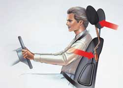 Современные сиденья оснащаются всевозможными механизмами, которые при столкновении сзади снижают нагрузку на позвоночник и исключают его искривление.