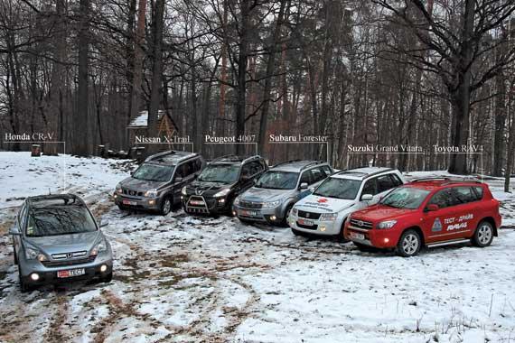 Honda CR-V, Nissan X-Trail, Peugeot 4007, Subaru Forester, Suzuki Grand Vitara, Toyota RAV4