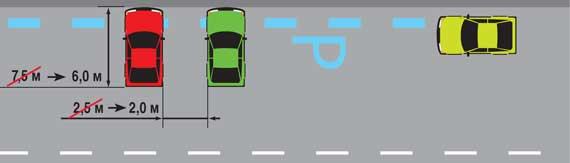 Для обозначения мест парковки вдоль края проезжей части или тротуара предлагается применять горизонтальную разметку голубого цвета, в начале которой нанесена буква «Р», а для увеличения числа мест уменьшить размеры одного машиноместа для стоянки легкового авто.