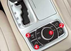 Выбор режимов системы Selec-Terrain осуществляется колесиком (1). Справа от него находятся кнопки регулировки клиренса (2), а слева – включения понижающей (3) передачи и Hill Descent Control (4).