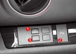 В Mazda6 можно отключить систему стабилизации (1), звуковой сигнал парктроника (2) и функцию поворота фар (3).