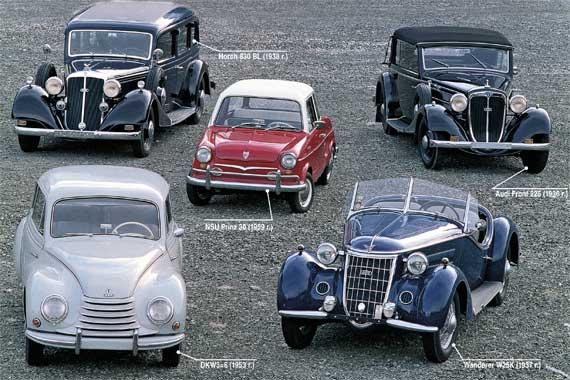 Horch 830 BL (1938 г.), NSU Prinz 30 (1959 г.), Audi Front 225 (1936 г.), Wanderer W25K (1937 г.), DKW3=6 (1953 г.)