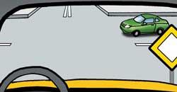 Автомобиль подъезжает со второстепенной дороги