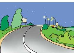 Впереди много столбов (ночью – освещенное место на дороге)