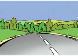 Дорога уходит за холм