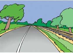 Железная дорога подошла вплотную к шоссе