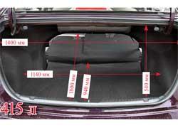 Под полом багажника «докатка». Объем отсека составляет 415 литров. Его можно увеличить. Правда, складываются только спинки дивана, и ровный пол не получается.