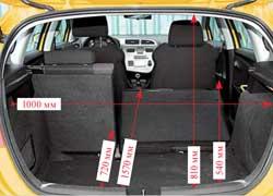 При сложенных сиденьях в багажнике Leon ровный пол не получается. Сам отсек вместительнее иглубже, но итяжелый груз вынимать не так удобно. Под полом багажника Seat – «докатка» и инструмент.