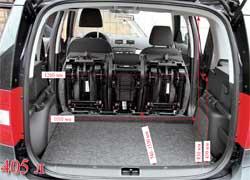 Багажник в походном состоянии не так уж велик – 405л. Но его можно увеличить на 105л, сдвинув задние сиденья, до 1580 л, сложив, или даже до 1780 л, сняв их. Для фиксации багажа очень удобны боковые поручни с крупными передвижными