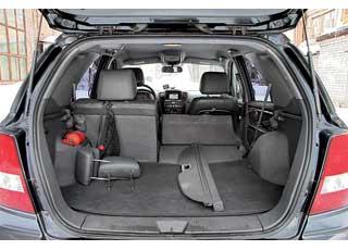 В «походном» состоянии багажник Sorento один из  самых больших– 965 л против 500 л у Pajero Sport и 925 л у Rexton, а со сложенными сиденьями – средний: 1750 л против 1720 л  и 2020 л соответственно.