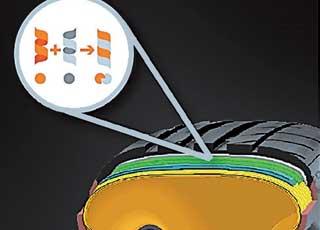 Вместо обычного нейлонового каркаса для CSC5P разработали гибридный каркас из арамидных инейлоновых волокон. Это одновременно повысило эластичность ижесткость шины впятне контакта.