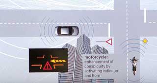 Система общается с другими ТС ипредупреждает о возможных помехах на ближайшем перекрестке.