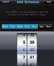 На экран коммуникатора электромобиля BMW ActiveE выводятся данные о зарядке батарей, карта и другая информация.