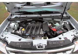 Бензиновый двигатель  объемом 1,6 литра (102л.с.) все же недостаточно эластичный. Набездорожье ипри динамичной езде на асфальте ему не хватает «низов».
