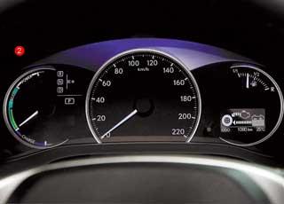 В зависимости от режима Sport или Eco изменяется цвет подсветки приборов, а слева высвечивается тахометр (1) или индикатор двигателя (2).