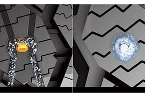 Ледяная крошка, продукт царапания льда, вновой шине (слева) собирается в канавках Cruched Ice, авдругих протекторах (справа) налипает на шип, уменьшая площадь контакта с дорогой.