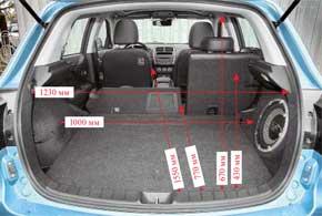 Багажник объемом 415 л довольно вместителен для кроссовера. Под его полом – полноценная запаска. Справа установлен мощный сабвуфер.