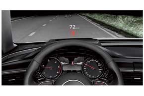 Опционно предлагается проекционный дисплей, который, помимо скорости иуказаний навигатора, предупреждает одвуногих нарушителях Правил.