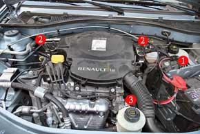 1 - ЭБУ газовой установки. 2 - блок газовых форсунок (2 шт.) с датчиками давления и температуры. 3 - редуктор.