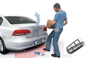Уникальная опция для удобства открывания багажника: если руки заняты багажом, а ключ-транспондер находится в кармане водителя, ему надо лишь провести ногой под задним бампером (1) – крышка багажника поднимается (2).