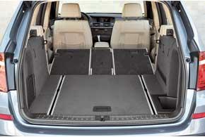 Багажник нового X3 объемом от550до1600л– самый большой среди конкурентов. Спинка заднего ряда разделена на сегменты 40:20:40 или 60:40 (в базе). Появилась возможность автоматического управления дверью.