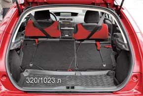 Багажник С4 небольшой в сравнении с конкурентами и родственным Peugeot307. У«5-дверки»– 320/1023 л против 340/1330 л у «307-го»,  385/1245 л – уFord Focus и 359/1270 л – у Opel Astra (Н).