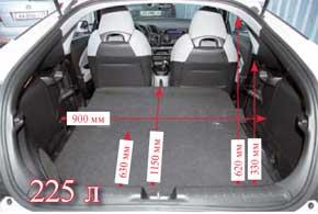Объем багажника Honda варьируется от 225 л до 401литра. Часть его «съедает»  сабвуфер аудиосистемы. Тут нет петель для крепления груза, авещи приходится поднимать минимум на 160 мм выше, чем у ближайшего конкурента – Audi.