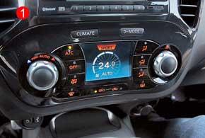 На отдельный экран можно вывести показатели работы климат-контроля (1).