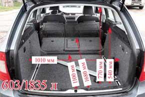 В нашем случае мы смогли для Skoda в пару к 1,8-литровому бензиновому мотору заказать 7-ступенчатую коробку DSG. Cложив задний ряд в Superb Combi, получаем на 104 л больший багажник. Удобные элементы крепления груза предлагаются со среднего уровня оснащения Ambition.