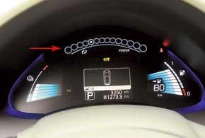 На щитке приборов несколько непривычная информация: температура аккумуляторов ииндикатор использования мощности.
