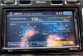 На центральный дисплей можно вывести информацию обэнергопотреблении автомобиля. При включении климат-контроля в данном случае запас хода снизится на 20 км.