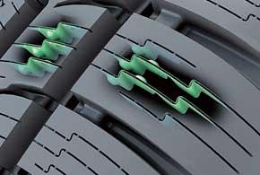 3D Lock Sipe (3D-ламелирование). Снижает деформируемость блоков, а это – улучшение управляемости.