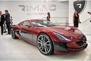 Rimac Concept_One из Хорватии оснащен 4-мя электромоторами по272л.с. каждый.