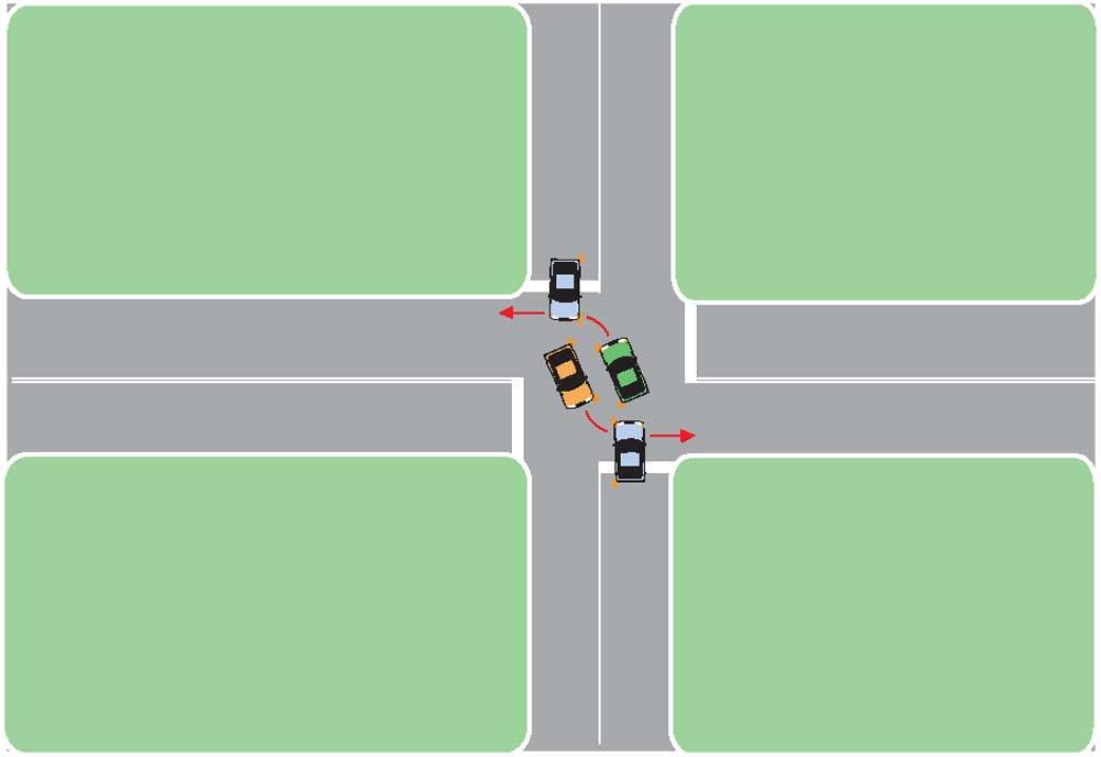 Какими бортами разъезжаться на перекрестке