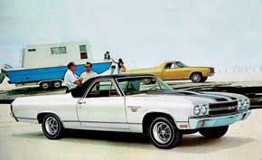Chevrolet El Camino SS. Кроссовер El Camino объединил в себе внешность обычной легковушки ивместительного пикапа. Версия Super Sport оснащалась самыми мощными моторами V8 объемом 6,5 и 7,4 литра.