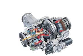На порядок реже, чем КП, конструкторы совершенствовали другие узлы трансмиссии. Этот спортивный дифференциал Audi распределяет в поворотах большую часть момента на наружное колесо, чем значительно повышает устойчивость авто.