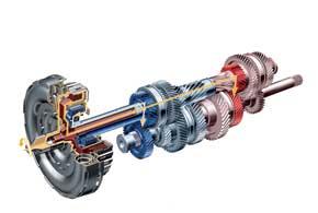 Новый способ переключения передач в 2003 году предложил VW. Трансмиссия DSG представляет собой две КП, интегрированные в одну, каждая из которых отвечает за свой ряд передач (четный или нечетный) и подсоединена к трансмиссии через свое сцепление.