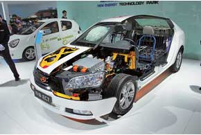 «Подключаемый» гибрид Emgrand GPEC-EC7 оcнащен 998-кубовым 3-цилиндровым ДВС, 50-киловаттным электромотором и литий-феррум-полимерной батареей.