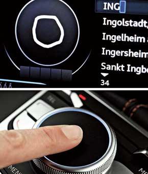 Для экономии места поле MMI Touch внедрили в контроллер. Итеперь прямо на нем можно пальцем писать нужные буквы, отыскивая музыкальные треки или адрес в навигационной системе.