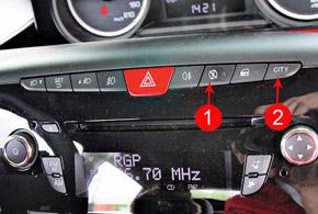 Систему Start&Stop (1) при необходимости можно отключить. Режим рулевого управления CITY (2) снижает усилие на баранке.