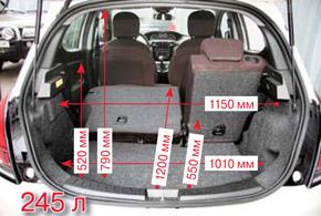 Багажник в 245л– один из лучших вклассе. Проем очень большой, авнутреннюю ручку можно было сделать побольше.