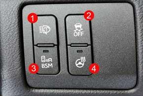 Все машины оборудованы омывателями фар (1), системой стабилизации (2), системой слежения за авто вмертвых зонах (3), подогревом руля (4).