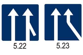 5.22 Примыкание полосы для разгона транспортных средств. 5.23 Примыкание дополнительной полосы движения с правой стороны