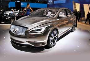 Концепт Infiniti LE создан на базе Nissan Leaf. Компактный седан – первый в истории марки люксовый электромобиль. Он оснащен 136-сильным электромотором и способен преодолеть без подзарядки до 160 км.