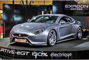 Французский спорткар Exagon Furtive-eGT имеет два электромотора Siemens суммарной мощностью 402 л.с. Наразгон допервой «сотни» ему требуется всего 3,5 с, а максимальная скорость достигает 250км/ч. Запас хода в городе – до 360 км.
